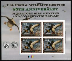 RW85 Mallards $25 Federal Duck Souvenir Sheet of Four Stamps - Stuart Katz - $150.00