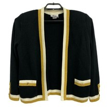 Vintage Mita Femmes Noir Pull Cardigan Or Bouton Sz 10- Made IN The USA - $22.11