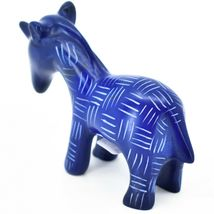 Vaneal Group Hand Carved Kisii Soapstone Dark Blue Unicorn Figurine Made Kenya image 3