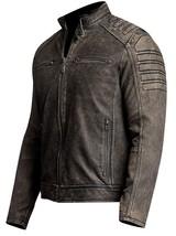 Iron Head Distressed Men's Vintage Café Racer Leather Jacket image 2