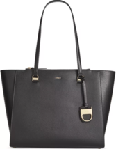 DKNY Donna Karan NWT Black Large Pebbled Leather Double Zip Tote Shoulder - $133.12