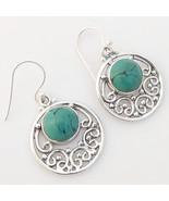 Handmade 925 Sterling Silver Turquiose Gemstone Earrings, Handmade Jewel... - $26.99