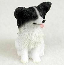 PAPILLON BLACK  WHITE TINY ONES DOG Figurine Statue Resin Pet Lovers - $9.99