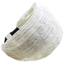 Fold Lace Headband Fashion Hairband Wide Headwrap Hair Accessories(Beige)