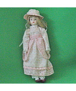 """Vintage 9"""" Porcelain China Doll, Pink And White Clothing With Matching B... - $3.95"""