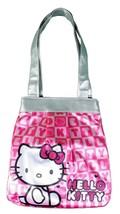 Sanrio Hello Kitty Rosa Simil Paillettes Jacquard Die Cut Bianco Testa Borsa NW image 1