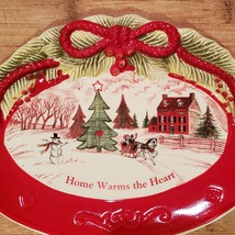 Vintage Christmas Dish, Holiday Fitz & Floyd Sentiment Tray Home Warms the Heart image 2