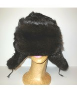 Russian Ushanka Fur Hat Brown Trapper Bomber with Ear Flaps Vintage sz S/M - $55.00