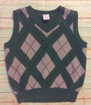 Gymboree Argyle Sweater Vest Size XS 3-4 V-Neck Ribbed Trim Holiday Preppy - $11.87