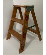 Wood 2 Step Ladder Painted Stencil Country Shabby Chic Apples Farm Tree ... - $199.99