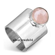 Rose Quartz 925 Sterling Silver Adjustable Wide Band Boho Ring Jewelry k... - $6.89+