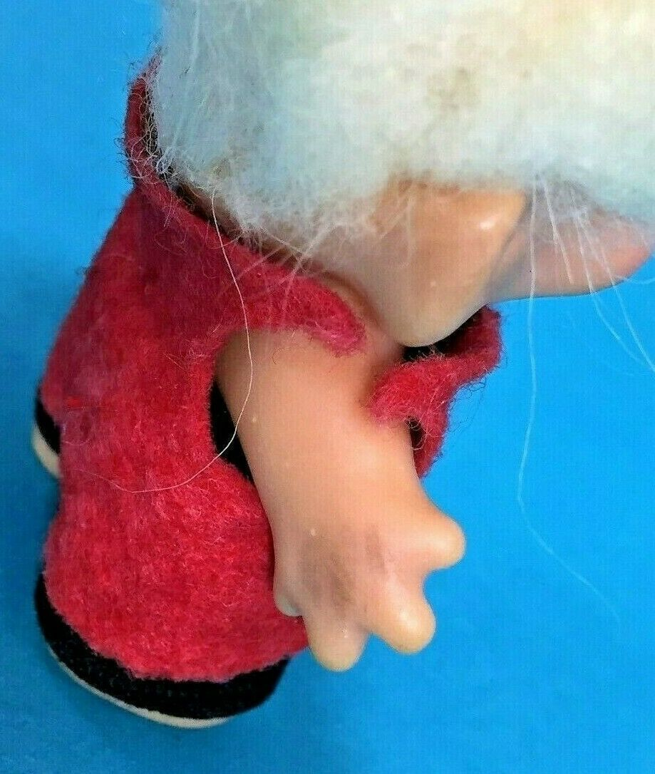 "Vintage Dam Troll 2.5"" Doll Blonde Cream Mohair Hair Dressed Clothes Felt Top"