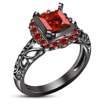 Princess Cut Red Garnet Black Gold Finish Pure 925 Silver Women's Weddin... - $82.89