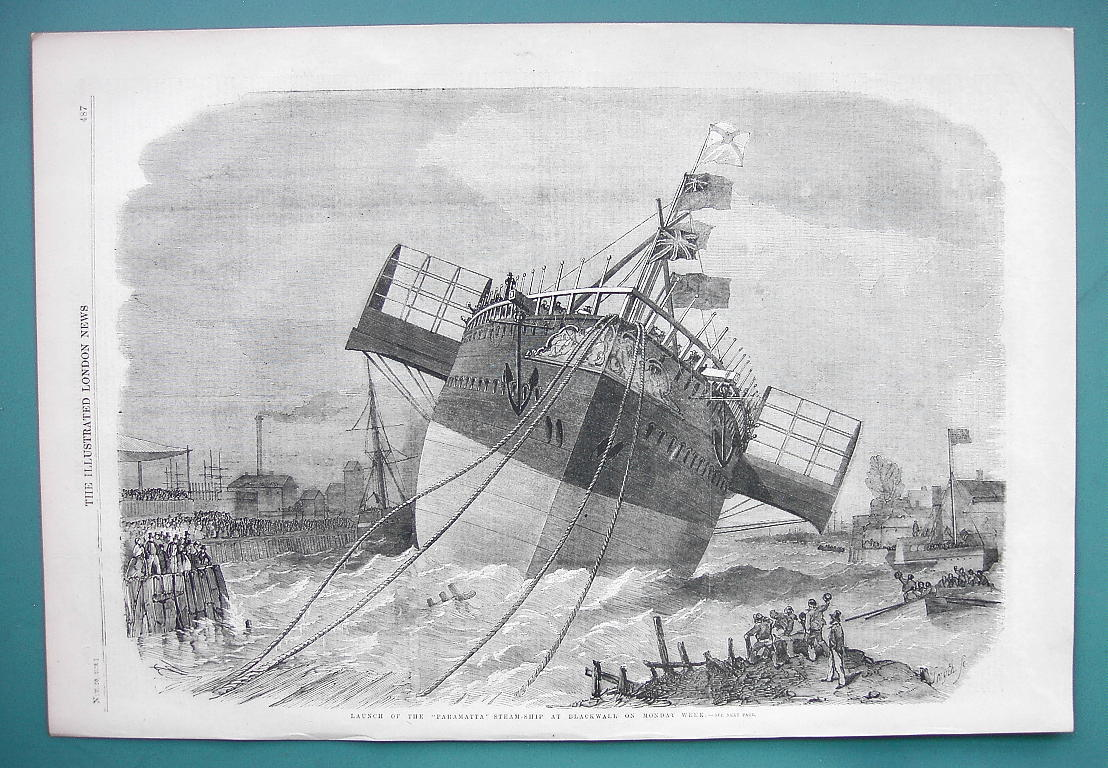 Primary image for 1858 Woodcut Engraving - Steamship Parametta Launch at Blackwell England