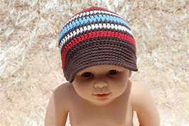 New Handmade Brown Knit Baby Brimmed Hat Cap Newsboy Cap Newborn Photo P... - $6.99