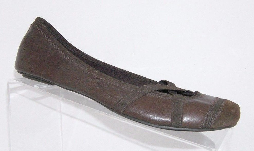Jessica Simpson brown square toe leather elastic slip on ballet flats shoes 7.5B