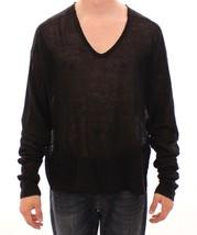 Dolce & Gabbana Black Linen Logo V-neck Sweater Pullover - $114.70