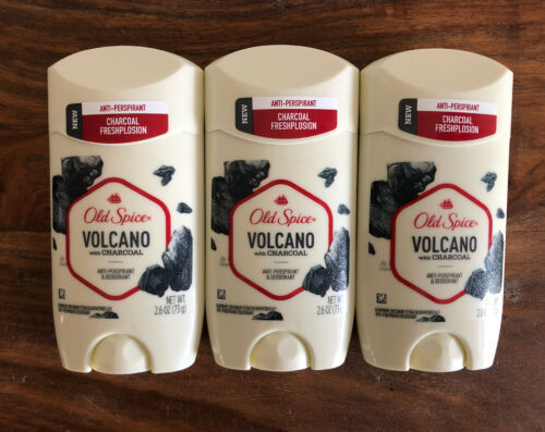 Primary image for Lot Of 3 Old Spice Volcano Solid Antiperspirant Deodorant Men Charcoal EXP 10/20