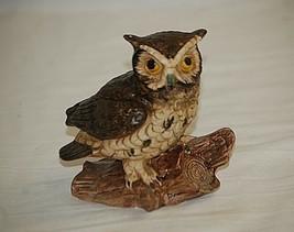 Vintage Bisque Horned Owl on Log Bird Figurine Curio Cabinet Shelf Decr c - $19.79