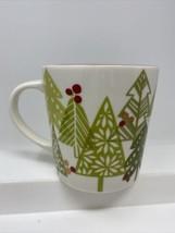 STARBUCKS Coffee Mug 2010 Holiday Christmas Trees 16 Oz Bone China Red G... - $19.79