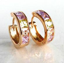Huggie Hoop Earrings 18K Gold Plated Simulated Diamond 17mm Pink Multi-C... - $15.47