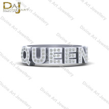 Flush Setting Diamond QUEEN Ring 925 Sterling Silver QUEEN Ring Band For... - €73,18 EUR+
