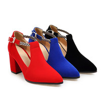 Pointed Strap Toe Women's High Buckle Ankle Pumps Chunky Up KarinLuna Heels Fau OBqR7w