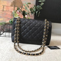 AUTHENTIC CHANEL BLACK CAVIAR QUILTED JUMBO DOUBLE FLAP BAG GHW image 2