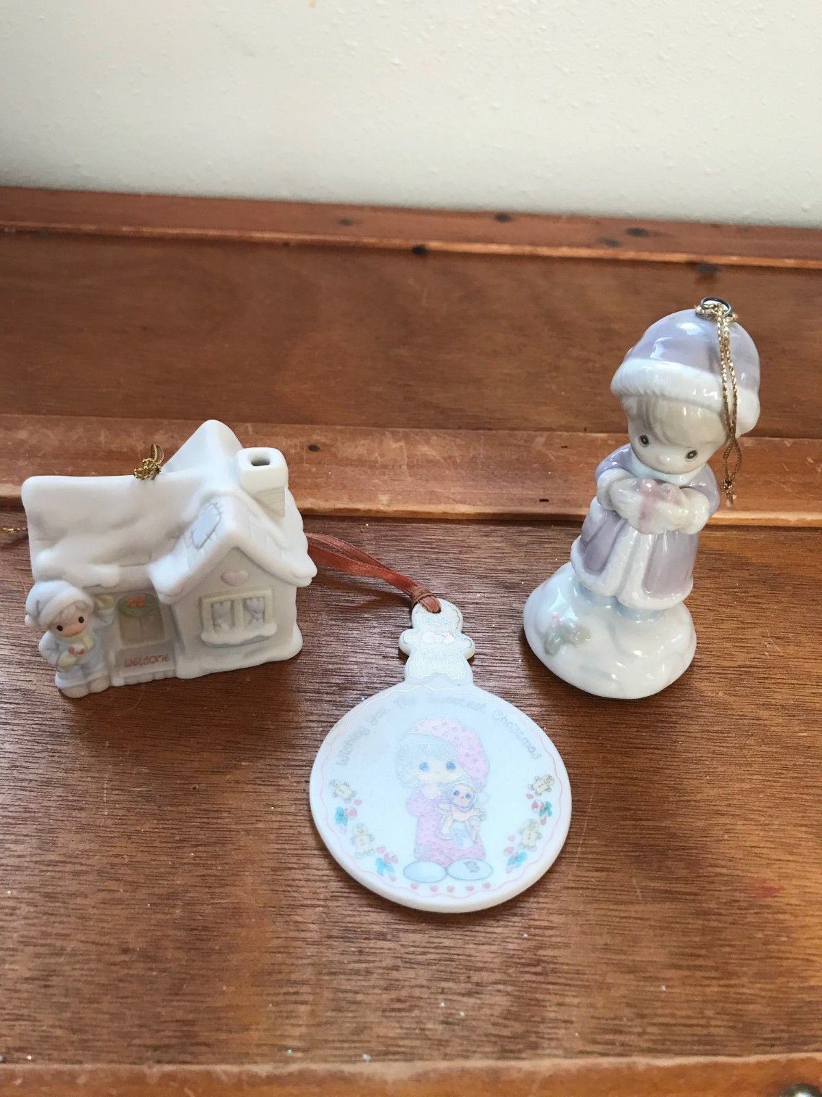Lot of 3 Precious Moments Porcelain House Girl with Gift Christmas Tree Ornament