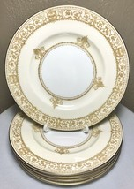 """5 Minton England Salad Plates NP2616 White Cream Gold Banded Scrolls Griffins 7"""" - $46.00"""