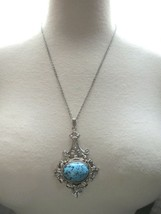 Couture Revival Pendant Necklace Silver Tone Chain Speckled Glass Cabochon VTG - $34.64