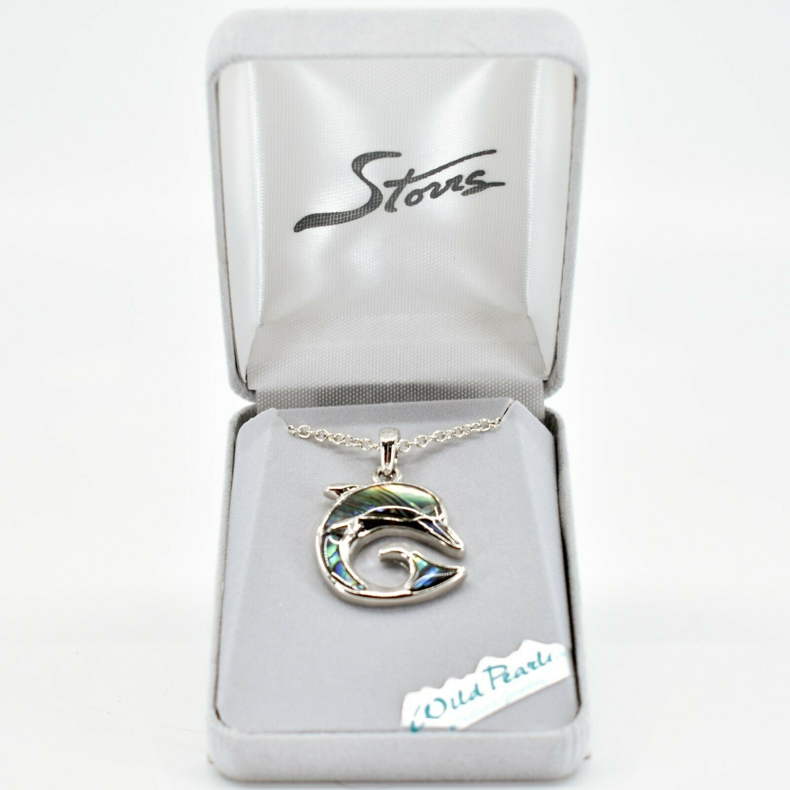 Storrs Wild Pearle Abalone Shell Dolphin Delight Pendant w/ Silver Tone Necklace