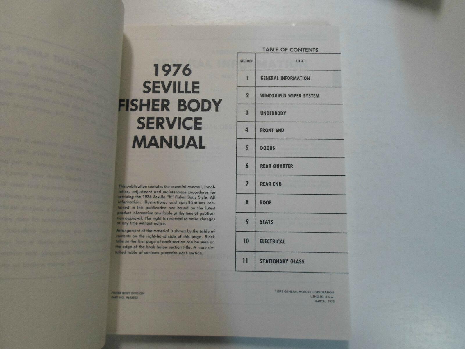 1976 Cadillac SEVILLE Service Shop Repair Manual 2 VOL SET 76 WATER DAMAGED image 3