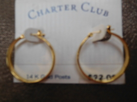 Vintage Charter Club Hoop Earrings Goldtone 14 K Gold Posts New on Original Tag - $14.99