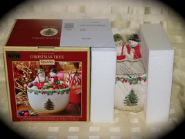 Beautiful Spode Christmas Tree Candy Snack Nut Bowl Mr. and Mrs. Snowman NIB NEW - $46.74