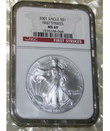 2001 $1 Silver eagle~ FIRST STRIKE NGC MS 69 RED LABEL~ Collectible Coin... - $71.58