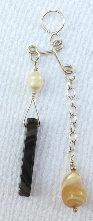 "Sterling Silver ""In-Balance"" Pendant with Botswana Agate Slab and Mother of Pear"