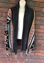 Boho Billabong Small Open Front Poncho Jacket Fringe Drug Rug Aztec Desi... - $29.70