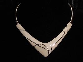 VTG Trifari Modernist Abstract Art Deco Gold Tone White Enamel Necklace ... - $99.00