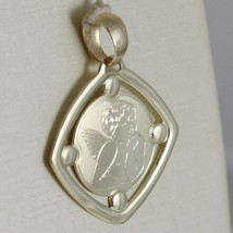 Pendant Yellow Gold Medal 375 9k, Diamond Guardian Angel, Satin, Made in Italy image 2