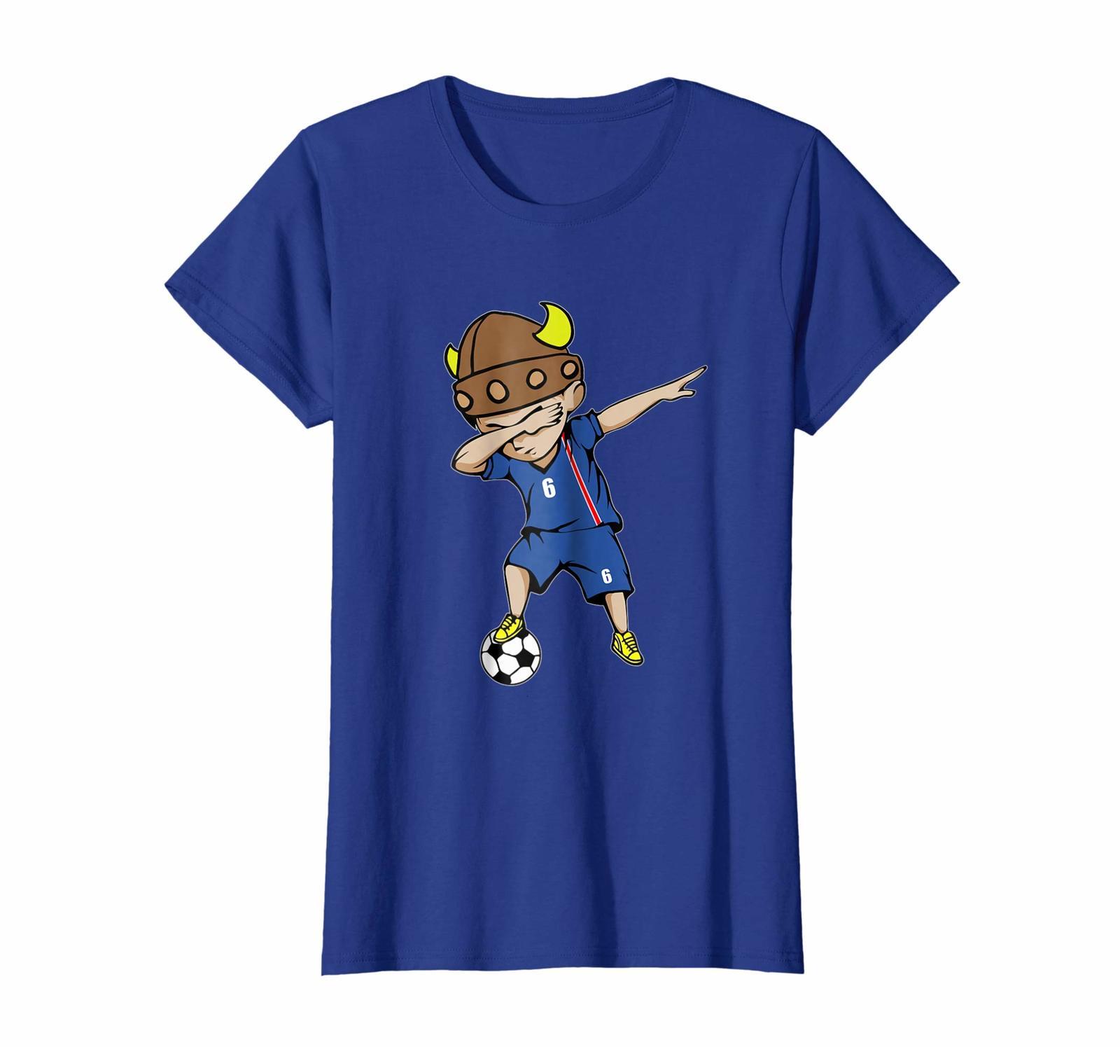 Sport Shirts - Dabbing Soccer Boy Iceland Jersey T-Shirt - Number 6 Tees Wowen