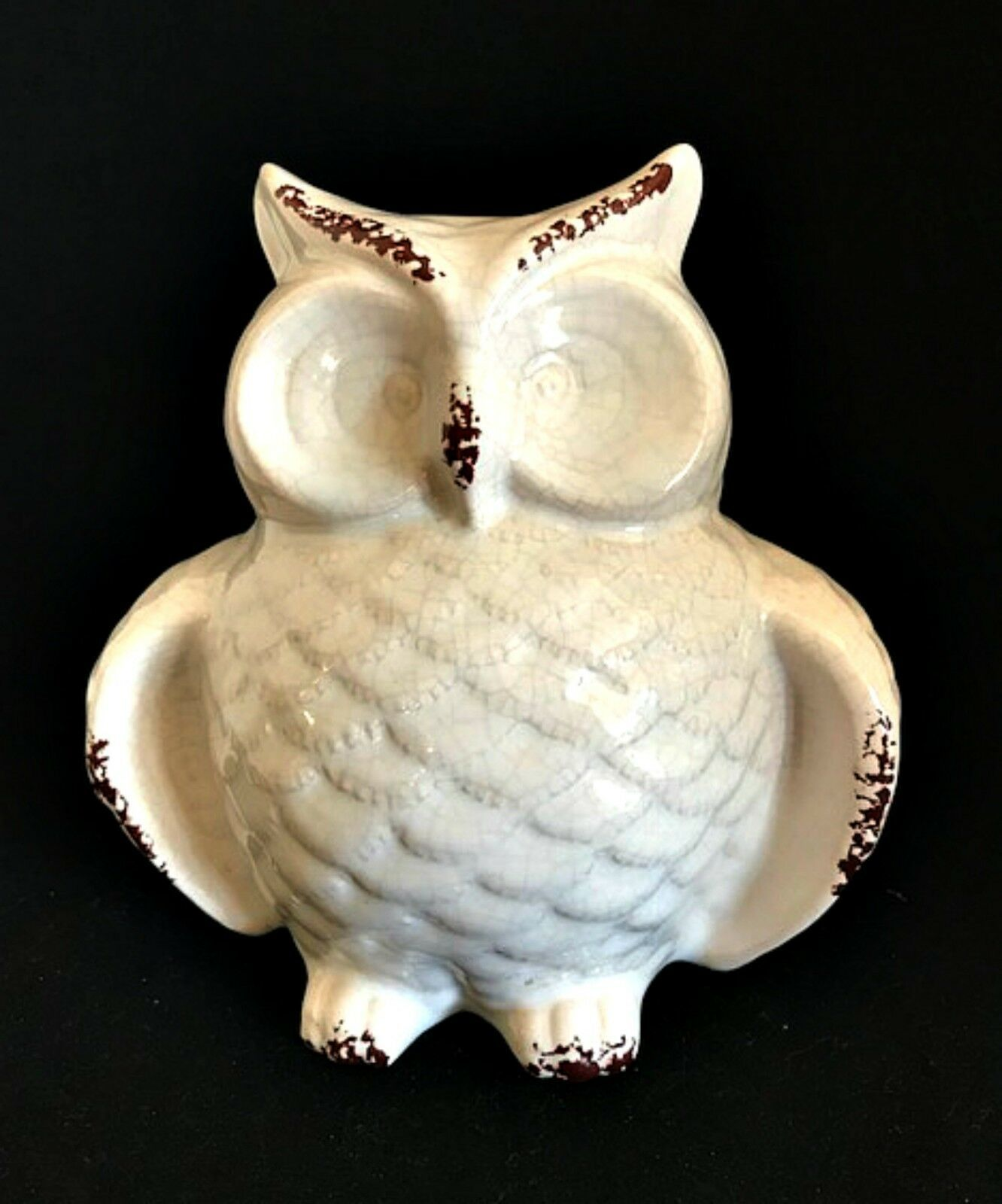 Ceramic Owl Figurine Shabby Glazed Paint White Brown Home Decor 6.5 in Tall New