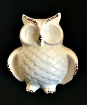Ceramic Owl Figurine Shabby Glazed Paint White Brown Home Decor 6.5 in T... - $23.76
