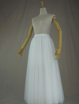 WHITE Tulle Midi Skirt A Line High Waisted Tulle Skirt Wedding Skirt image 7