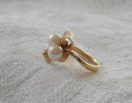 Vintage 14k Solid Yellow Gold Bow Cocktail Ring 3D Pearls 3.2 Grams Size... - $163.30
