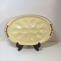 "Deviled Egg Plate Pfaltzgraff Village 12.5"" Oval - $24.18"
