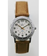 Timex Watch Unisex 24h Light Stainless Silver Leather Brown Water Re Whi... - $23.86