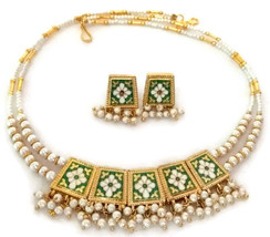 Indian Bridal Necklace Gold Plated Reversible Green Purple White Pearl Jewelry S - $17.75