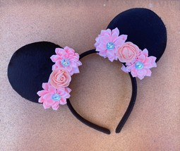 Pink Flower Crown Minnie Mouse Ears for Disneyworld/Disneyland Two Sided - $5.94