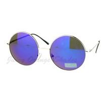 Mirror Lens Round Circle Sunglasses Lite Metal Frame Spring Hinge - $7.95